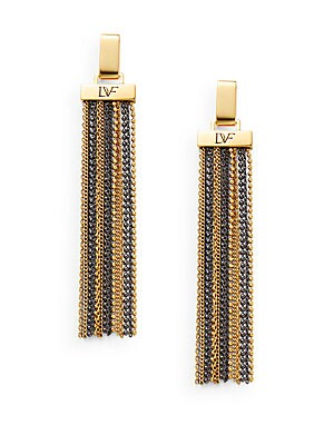 All The Glitz Chain Tassel Drop Earrings