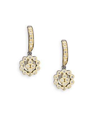 Mother-Of-Pearl Crystal Cutout Drop Earrings