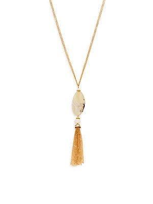 Agate Pendant Chain Tassel Necklace