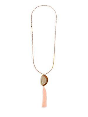 Beaded Semi-Precious Stone Fringe Pendant Necklace