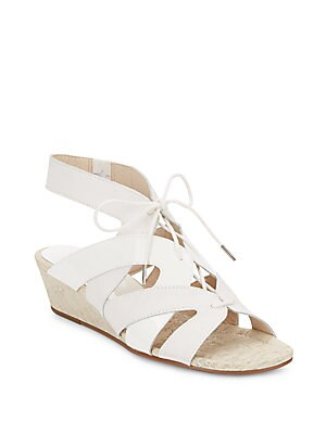 Dalie Leather & Patent Leather Lace-Up Wedge Sandals