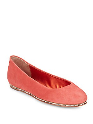 Poppy Crystal-Trimmed Suede Flats