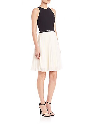 Belted Colorblock Pleated Dress