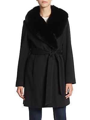 Fox Fur-Trimmed Wool & Cashmere Wrap Coat