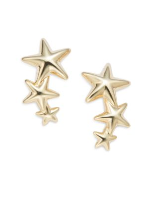 14K Yellow Gold Triple Star Climber Earrings