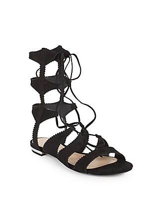 Samena Suede Lace-Up Gladiator Sandals