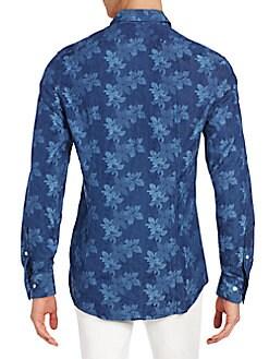 Slim-Fit Floral Print-Cotton Sportshirt