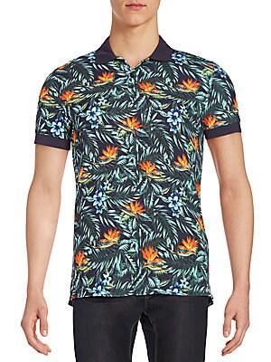 Tropical-Print Polo Shirt