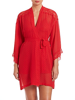 Lace-Detail Polka Dot Wrapper Robe