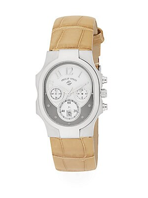 Classic Stainless Steel & Leather Band Dual Time Watch