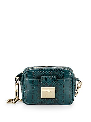Chain Detailed-Embossed Leather Crossbody Bag