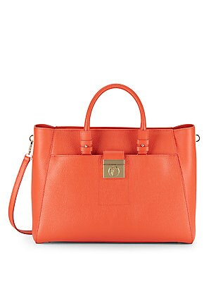 Textured Leather Satchel