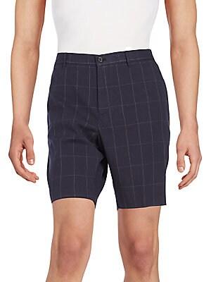 Windowpane Check Cotton Shorts