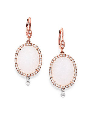 White Druzy, Diamond & 14K Rose Gold Drop Earrings