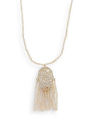 Beaded Tassel Hamsa Pendant Necklace