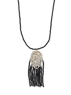 Beaded Tassel Hamsa Pendant Necklace/Black