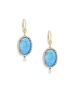 Click here for Diamond & Turquoise Drop Earrings prices