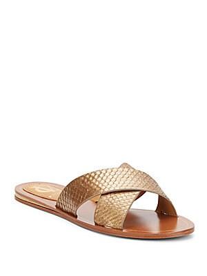 Vido Embossed Leather Slide Sandals