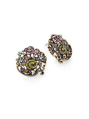 Bouquet Swarovski Crystal Button Earrings