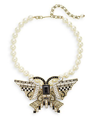 Flutter Fly Swarovski Crystal & Faux Pearl Necklace