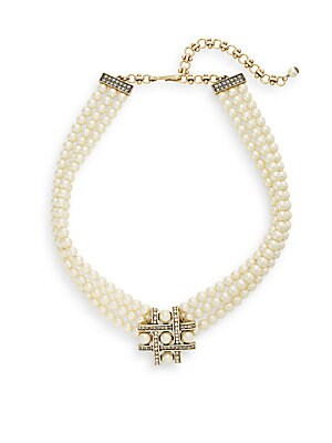Crisscross Faux Pearl & Swarovski Crystal Necklace