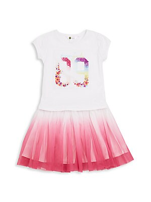 Little Girl's & Girl's Tee Shirt Tulle Skirt Dress