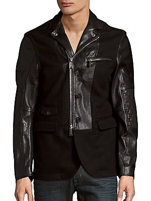Leather & Wool Zip-Front Jacket