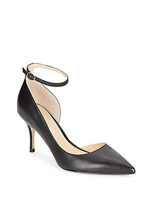 Brita Leather Ankle Strap Point Toe Pumps