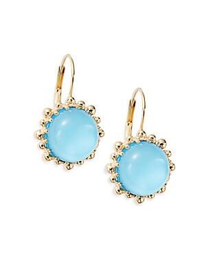 Dew Drop Turquoise Doublet & 14K Yellow Gold Drop Earrings