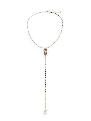 Beaded Crystal Y-Drop Necklace