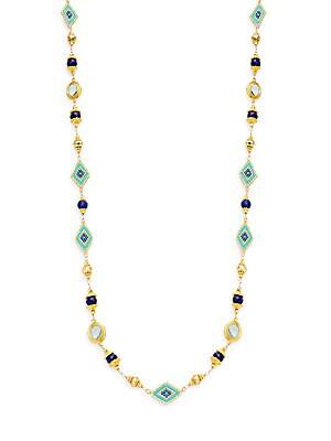 Romantic Azaara Lapis & Pyrite Station Necklace