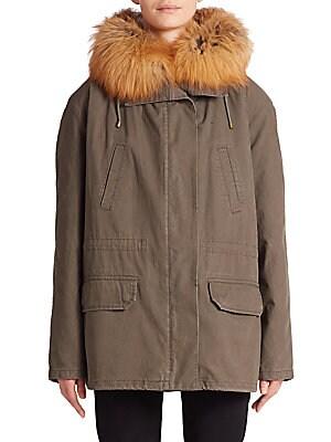Cotton Fur-Trimmed Short Parka