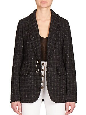 Fringed Tweed Cape Blazer