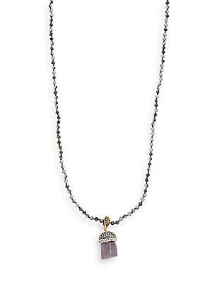 Beaded Semi-Precious Stone Pendant Necklace