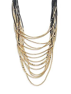 Layered Multi-Strand Necklace/Goldtone