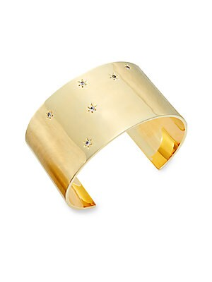 Vega White Topaz Wide Cuff Bracelet