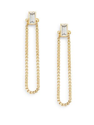 Stella White Sapphire Chain Drop Earrings