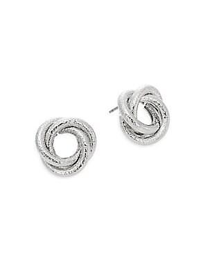 Knot Stud Earrings/Silvertone
