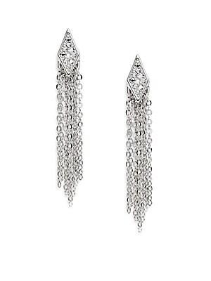 Pavé Crystal Chain Fringe Drop Earrings