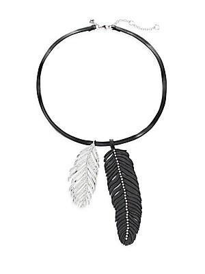 Runway Fall 15 Leather Feather Pendant Necklace