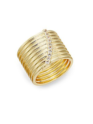 Vago White Topaz Cigar Band Ring