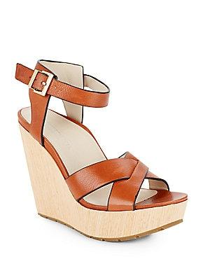 Clove Leather & Wood Platform Wedge Sandals