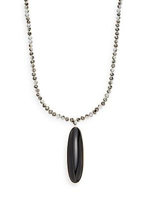 Beaded Onyx Cabochon Pendant Necklace