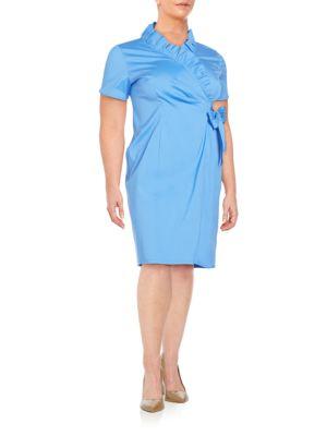 Edita Faux-Wrap Dress Lafayette 148 New York, Plus Size