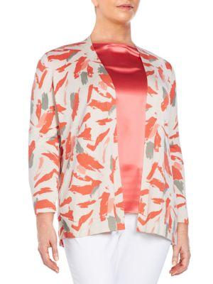 Cashmere  Silk Printed Cardigan Lafayette 148 New York, Plus Size