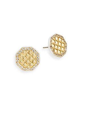 Flux White Topaz Button Earrings