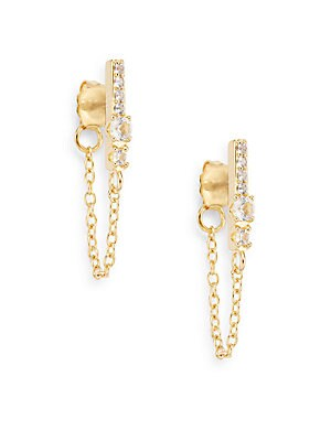 Kiki White Topaz Bar Chain Stud Earrings