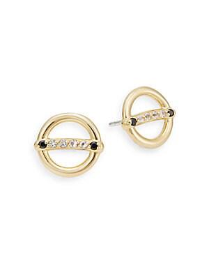 Aloba White Topaz & Black Spinel Stud Earrings