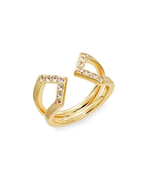White Topaz & 22 KT Gold Plated Cuff Ring