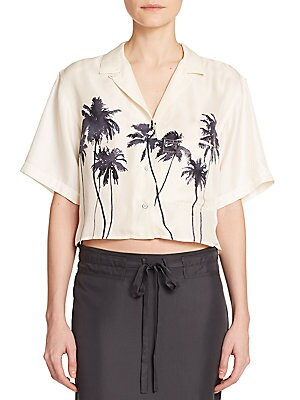 Silk Palm Tree-Print Cropped Top